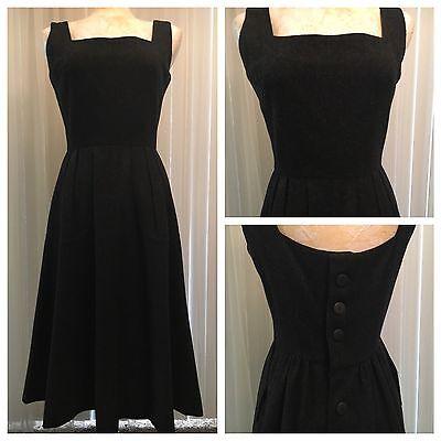 Vtg Haymaker 50S Wool Heather Black Button Back Lucy House Garden Tea Dress L