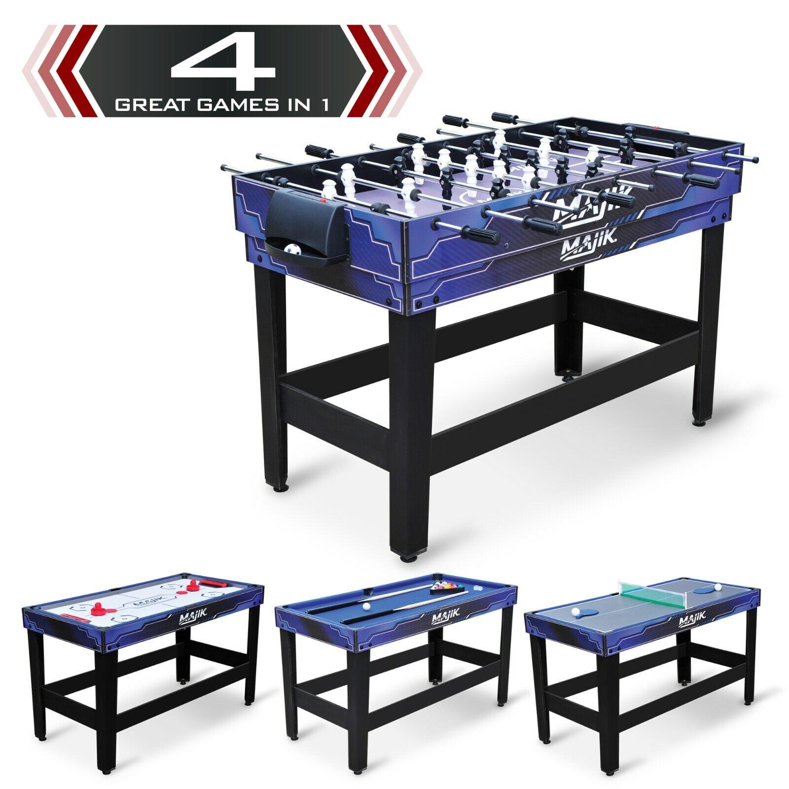 Pool Table 4-in-1 Combo 54 Inch Billiards Hockey Tennis Foos