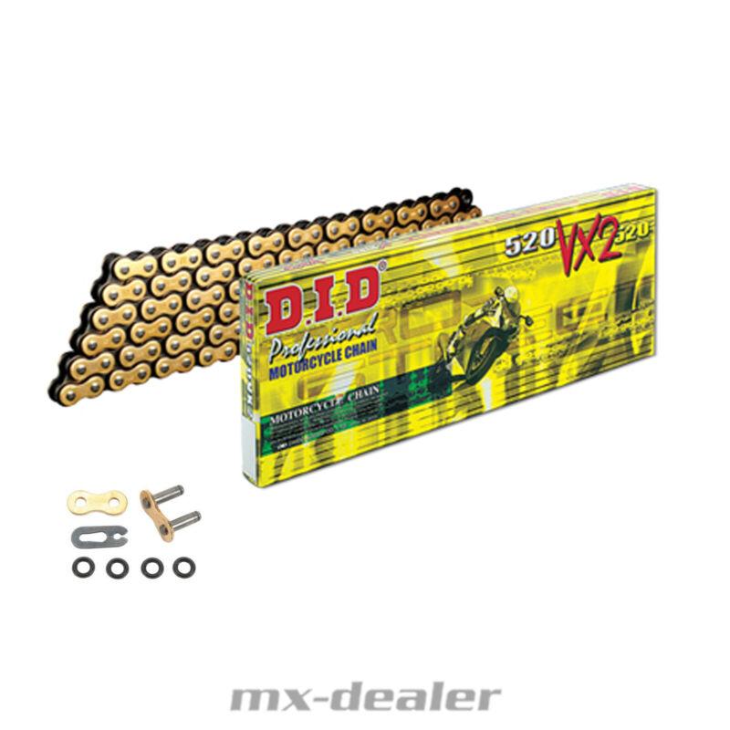 Kette DID 520 VX2 G/&B 108 Glieder offen Clipschloß VX-2 GOLD X-Ring e verstärkt