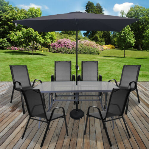 Garden Furniture - Table & Chairs Set Outdoor Garden Patio Grey Furniture Glass Table Parasol Base