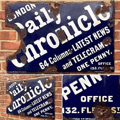 Antique Vintage Retro c1890s London Daily Chronical Enamel Advertising Shop Sign