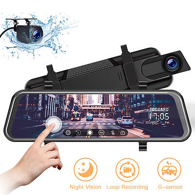 "TOGUARD 10"" Mirror Dash Camera Car Streaming Touch Screen Dual Lens Night Vision"