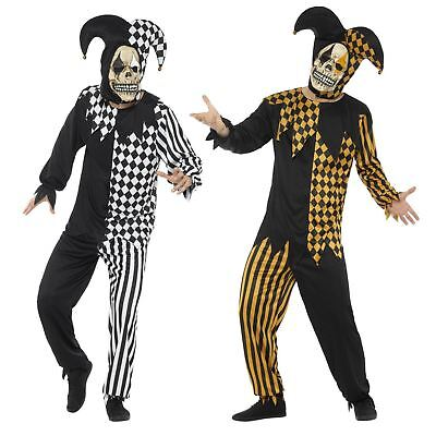 Adult Mens Jokers Wild Evil Medieval Clown Jester Fancy Dress Halloween Costume](Jokers Wild Costume)