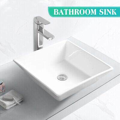 Square Bathroom Sink Porcelain Ceramic Vessel Vanity Basin Bowl Pop Up -