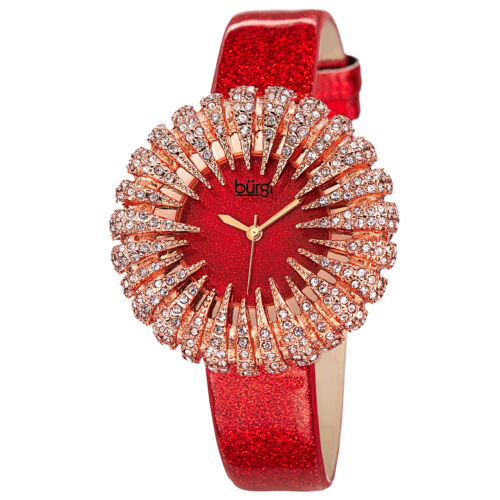 New Women's Burgi BUR112RD Dazzling Crystal Red Sparkle Dial Strap Watch