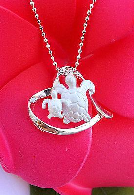 Hawaiian Jewelry - Hawaiian 925 Sterling Silver Jewelry Honu Turtles Heart Pendant Necklace SP24101