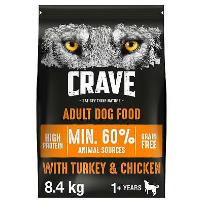 8.4kg Crave Grain Free Natural Adult Dry Dog Food Turkey & Chicken (3 x 2.8kg)