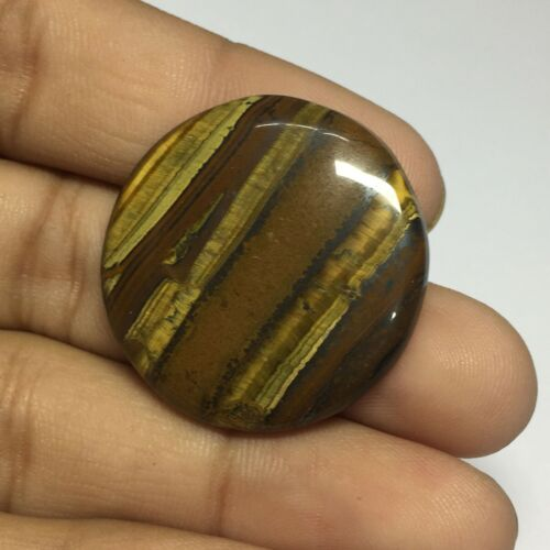 Natural Tiger Eye Smooth Cabochon Gemstone Round Shape 48.5 Cts UNE-3