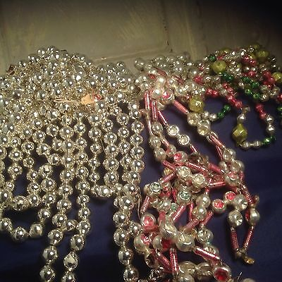 Vintage Mercury Glass Garland Antique beads Indent Faceted Multi Color Silver