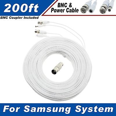 WHITE PREMIUM 200FT HIGH QUALITY BNC CABLES FOR 16 CH SAMSUNG SYSTEMS SDS-P5101