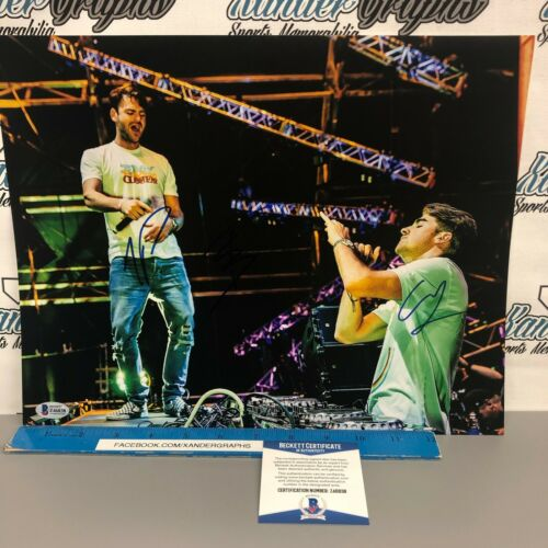 CHAINSMOKERS ALEX PALL DREW TAGGART AUTOGRAPHED 11X14 PHOTO BECKETT BAS COA