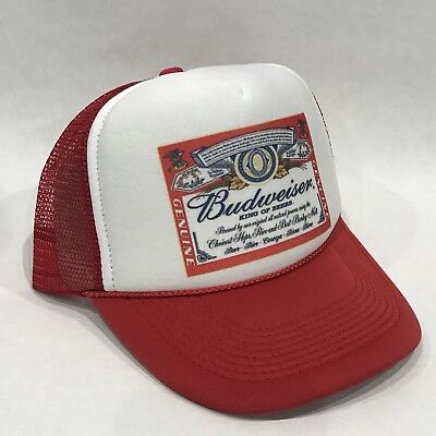 - Budweiser King Of Beers Trucker Hat Vintage 80's Mesh Back Snapback Cap! Red