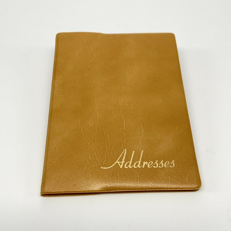 """Vintage Unused Pocket Size Address Book, 3 X 4.25"""", Yellow / Gold Faux Leather."""