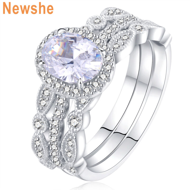 Newshe Engagement Set Wedding Rings For Women 925 Sterling Silver 3pcs Aaaa Cz