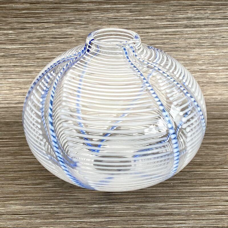 Vintage Art Glass - Hand Blown Vase - Blue & White