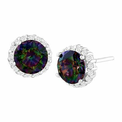 5 ct Green Mystic Cubic Zirconia Stud Earrings in Sterling Silver