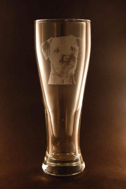 New! Etched Border Terrier on Pilsner Beer Glasses - Set of 2