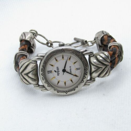 "Beautiful Peyote Bird Sterling Silver & Braided Leather Wristwatch 6.5-7.5"" K902"