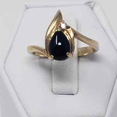 Gold Tone Black Stone Clear Rhinestone Teardrop Cocktail Ring Vintage Size 7.75