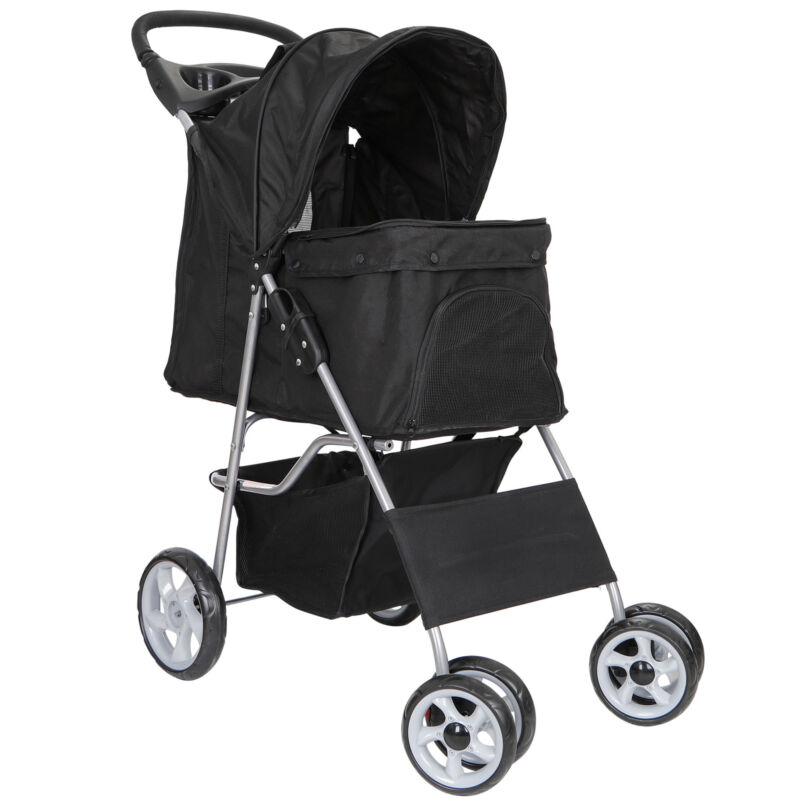 Dog Stroller Pet Travel Carriage Safe 4 Wheeler with Foldable Carrier Cart