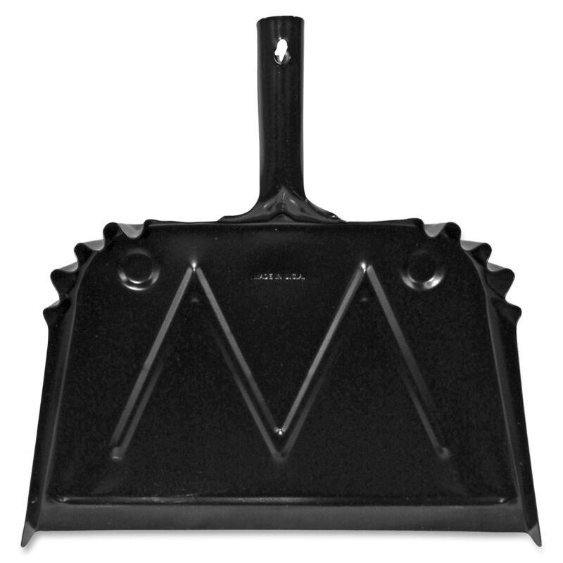 """Genuine Joe Dust Pan Metal 20 Gauge Steel 15.5""""x16"""" Black 85151"""