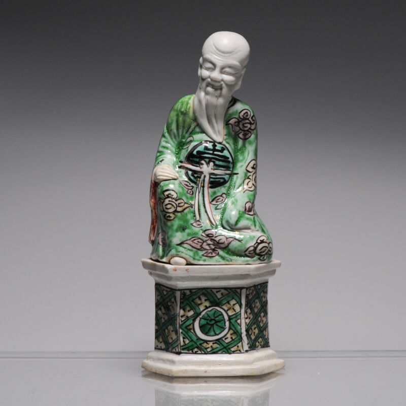 Antique Kangxi Chinese porcelain Statue China Famille Verte Biscuit Immortal