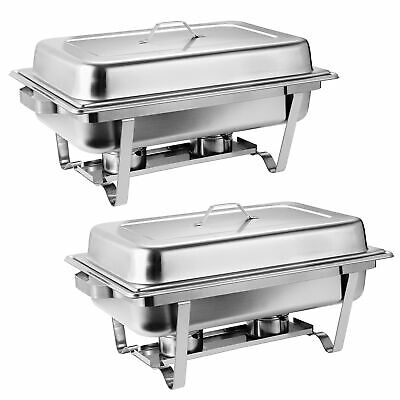 8 Qt Stainless Steel 2 Pack Chafer Dish Water Pan Food Pan Fuel Holder Lid