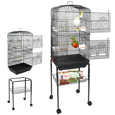 59'' Rolling Bird Cage Parakeet Finch Budgie Conure Lovebird House with Stand - Cheap Bird Cages