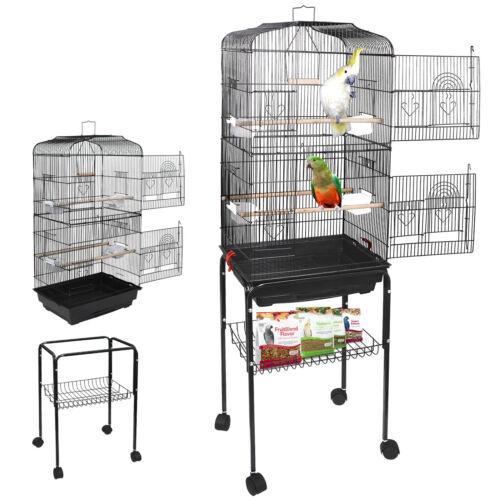 "Bird Cage Parakeet  Lovebird House 59"" Rolling Finch Budgie Conure with Stand Bird Supplies"