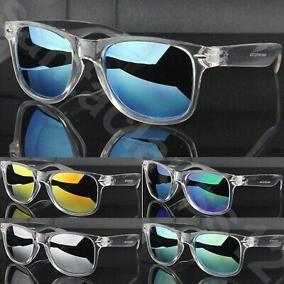 Classic Square Sunglasses Clear Transparent Frame Mirrored Lenses Womens Mens