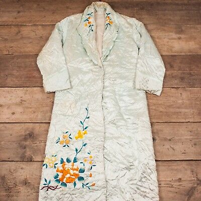Womens Vintage 60s Duck Egg Blue Quilted Floral Souvenir Robe Medium 12 RX 8407