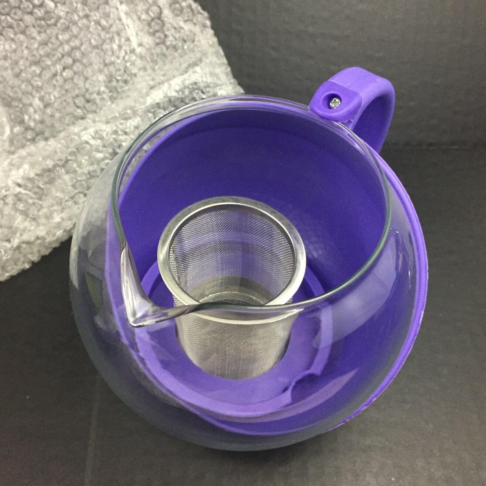 Primula Glass Teapot 40 oz / 5 Cup w/ 12 Flowering Teas PURP