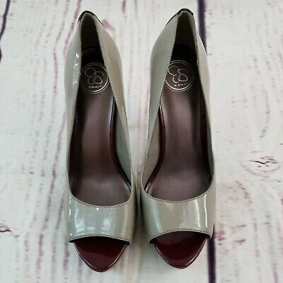 Jessica Peep Toe Pumps (Jessica Simpson Platform Pumps Heels Shoes Peep Toe Women Sz 9 1/2 B / 39.5 Gray)