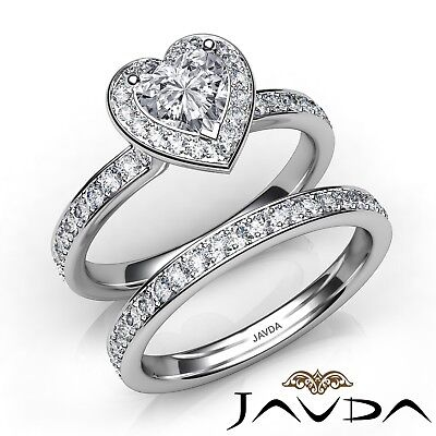 2.05ctw Halo Bridal Side - Stone Heart Diamond Engagement Ring GIA H-SI1 W Gold