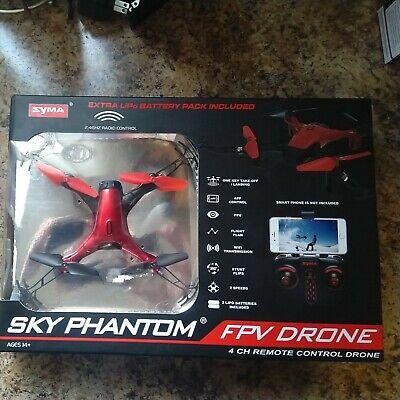Syma Sky Delusion FPV Drone 4 CH Remote Control Drone, Red Open Box Tested