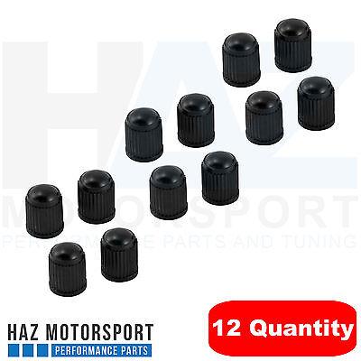 12x Black Plastic Tyre Tire Alloy Wheel Dust Valve Caps Universal Car Bike Cycle