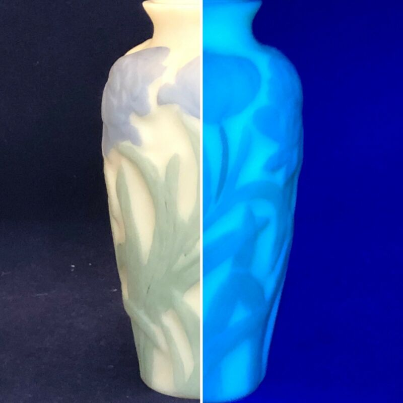 "Consolidated Glass Satin Phoenix Blue Floral Vase 6.25"" Tall USA UV Reactive"
