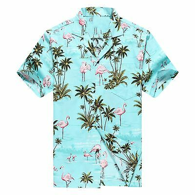Made In Hawaii Men Hawaiian Aloha Shirt Luau Cruise Pink Flamingos Turquoise