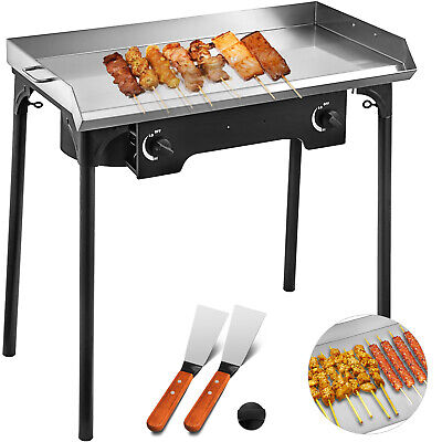 Flat Top Griddle Grill Double Burner Stove 2-burners 32x17 Stainless Steel