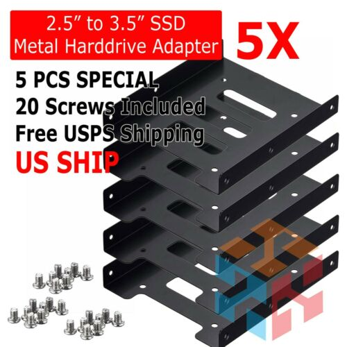 "5X 2.5"" to 3.5"" Bay SSD Metal Hard Drive HDD Mounting Bracket Adapter Dock Tray"