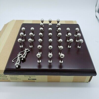 Bombay Fox and Geese Solitaire Golf Theme Wood Game Board Metal Pieces #3110777  ()