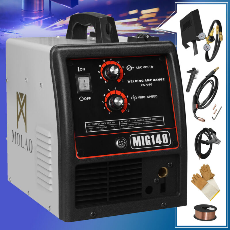 140 MIG Welder Inverter DC Flux Core Wire Automatic Feed Welding Machine 115V