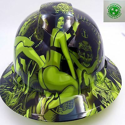 Hard Hat Full Brim Custom Hydro Dipped Osha Approved Lime Green Biker Babes