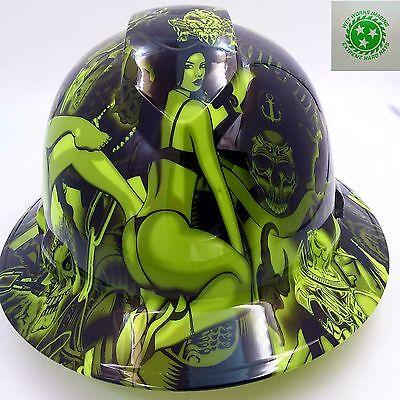 Hard Hat FULL BRIM custom hydro dipped , OSHA approved LIME GREEN BIKER BABES