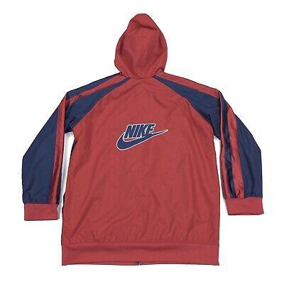 Nike Men's Full Zip Windbreaker Athletic Track Jacket Size L Red Blue Hooded