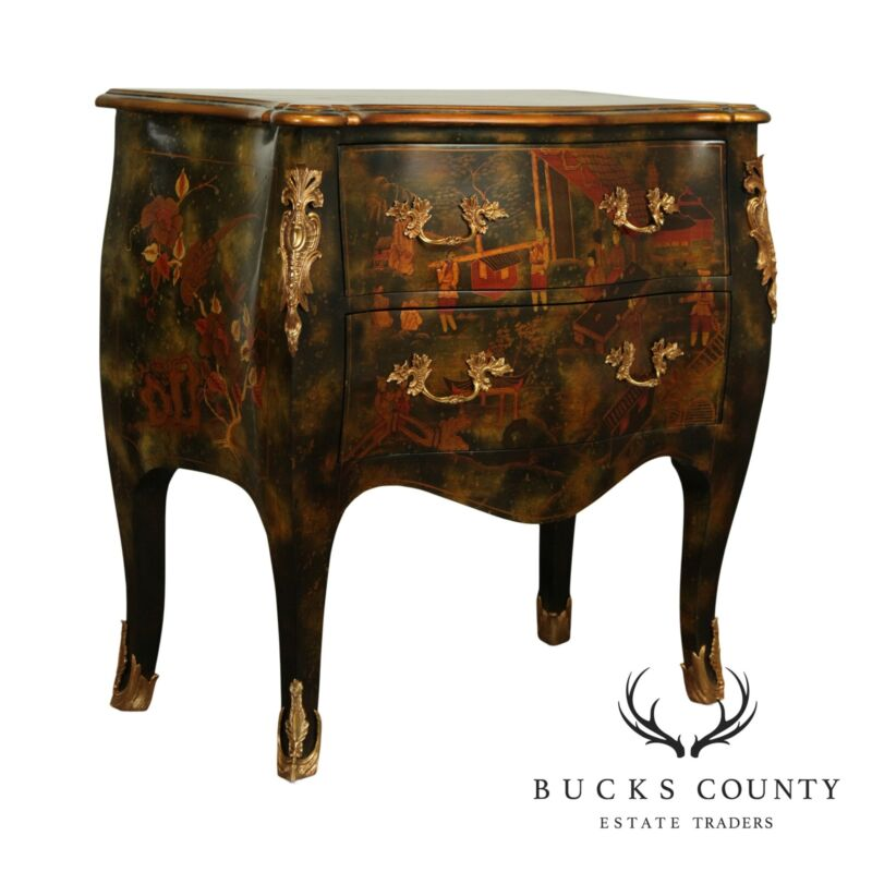 Maitland Smith Chinoiserie Hand Painted Louis XV Style Bombe Chest
