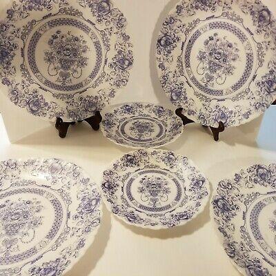 """Lot of four (4) Arcopol France 10.5"""" & Two (2) 7.5"""" desert plates blue Honorine"""