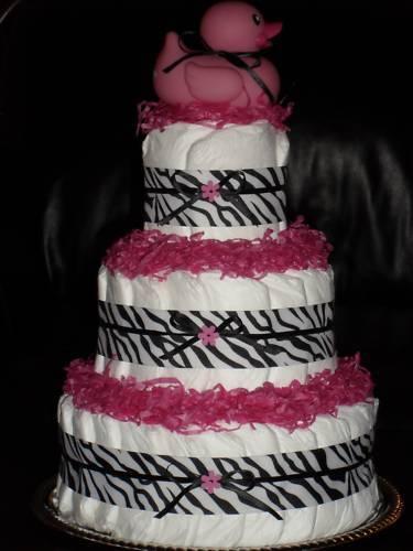 Zebra Print, Blue, Green, Lavender,or Yellow Baby Shower Diapercake