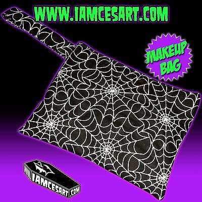 Spider Web Makeup (Spiderweb Accessory Pouch Clutch Makeup Bag web Rockabilly Pinup sewn)