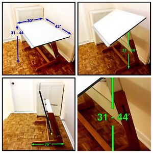 Desk. Adjustable height (sitting/ standing) and angle.
